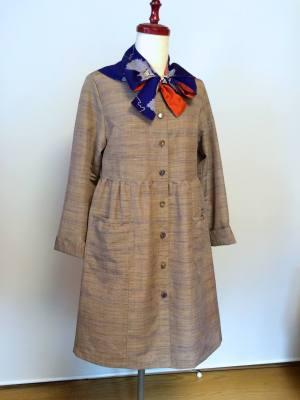 紬のスモックコート